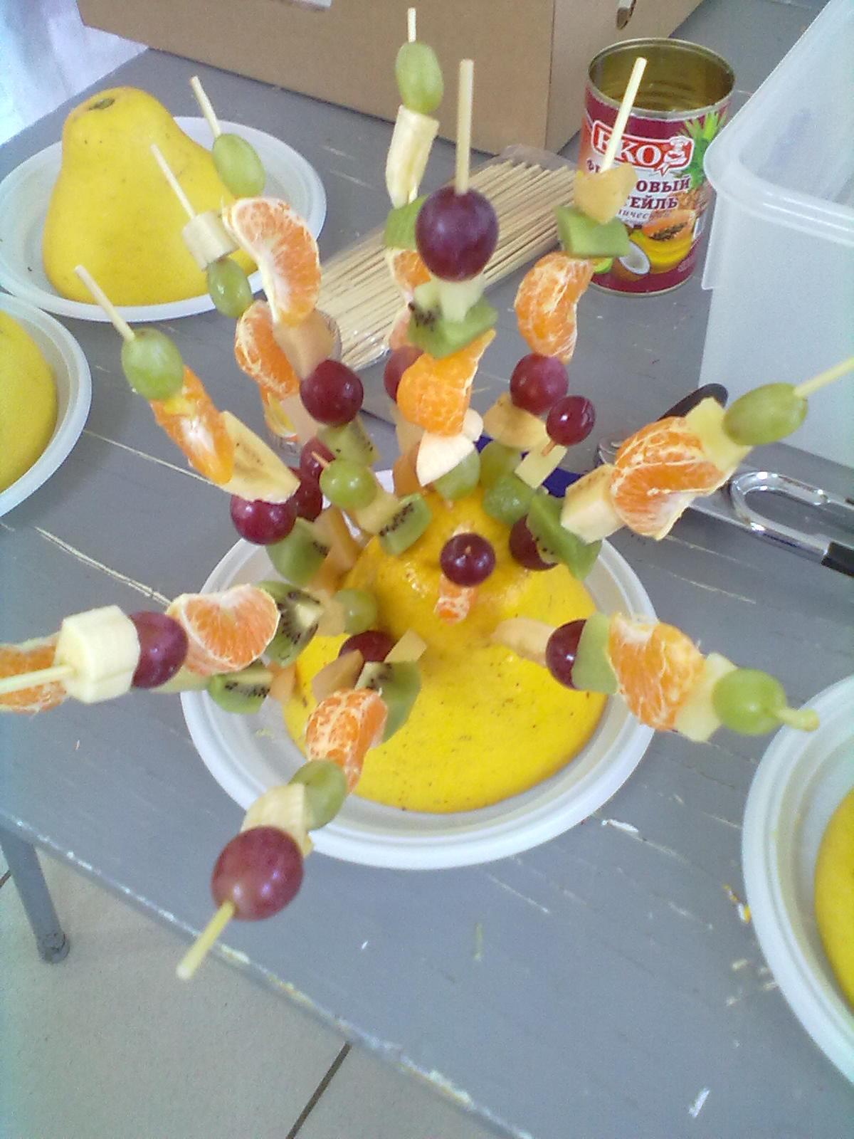 Украшения на шпажках фрукты фото